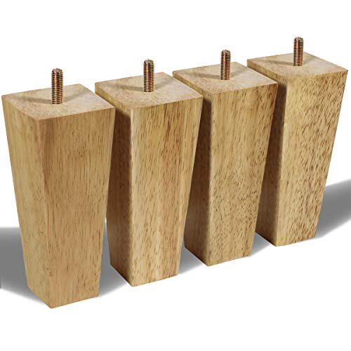 Set of 4 Wooden Furniture Feet / Sofa Base Legs with 8 Screw Bolts