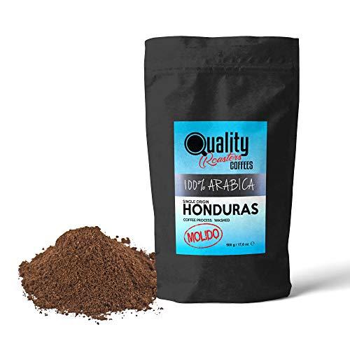 Café Molido Quality Roasters. 100% Arabica. Origen único Honduras. Tueste medio. Molido fino (Espresso, italiana). Paquete de 500 gramos. Tostado artesanal.