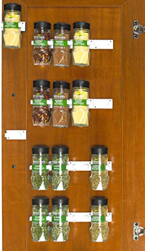 SimpleHouseware Spice Gripper Clips Strips Cabinet Holder - 4 Strips, Holds 20 Jars, White