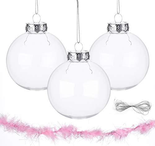 ilauke Acrylkugeln DIY Kugeln 12 stück Christbaumkugeln Weihnachtskugeln Transparent Plastik 8CM für Dekorationen, Kleines Dessert, Bemahlung, Party, Hochzeit