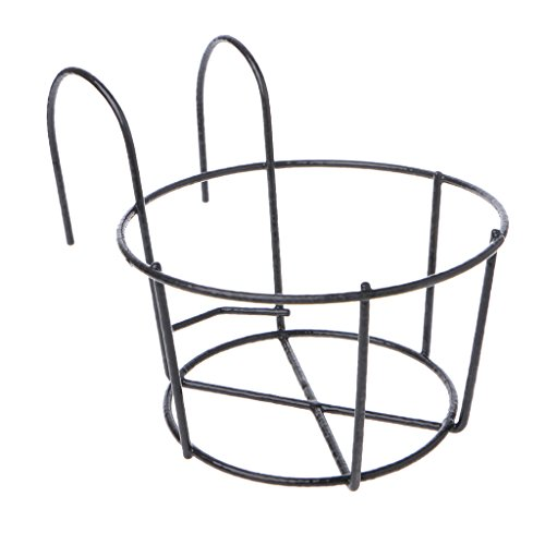 Dabixx Hanging Plant Iron Racks Balcone Round Flower Pot Rack Railing Fence Outdoor - Nero