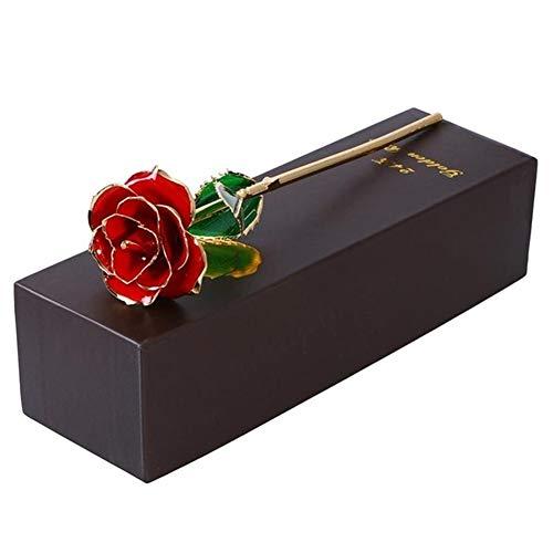 TSAUTOP Newest 24k Gold überzogene Rose mit Geschenk-Verpackungs-Kasten for Geburtstag Muttertag Jahrestag Geschenk Geburtstags-Geschenk (Color : Red)