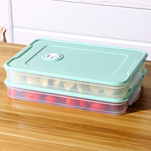 2 contenedores de almacenamiento de alimentos, apilables para refrigerador, congelador, caja de almacenamiento apilable, bandeja organizadora 2pack transparente