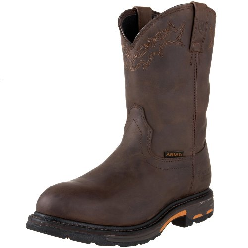 Ariat Men's Workhog Pull-on Waterproof Pro Work Boot, Oily Distressed Brown, 12 D US
