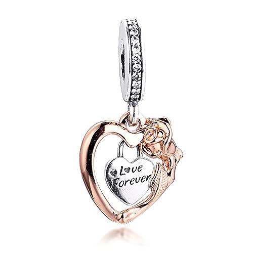 pandora 925 colgante de plata esterlina Diy se adapta a pulsera de corazón rosa flor cuelgan encantos originales de cuentas de cristal de fabricación de joyería