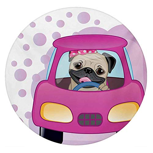 LCGGDB Pug 3D Decorative Window Clings,Dog Driving on The Cute Pink Car Girly Design Happy Moments and Love Animals Print Static Cling Window Decal for Home Office,Round 18'x18',Pink Yellow