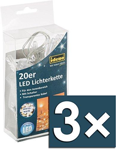 Idena LED Lichterkette 20-er, mit Schalter, für Innen, Länge 3,40 m, warmweiß 31117 [Energieklasse A++] (3, LED Lichterkette | 20-er)