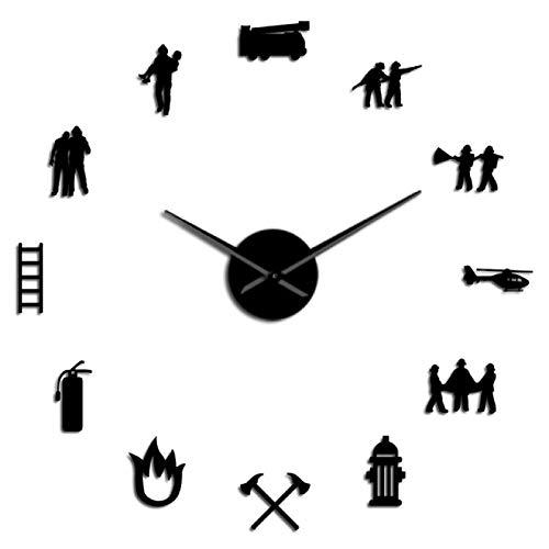 yage Bombero Amor DIY Reloj de Pared Gigante Oficina del Departamento de Bomberos Reloj Grande Reloj de extinción de Incendios Rescate Voluntario Axe Equipo de hidrante