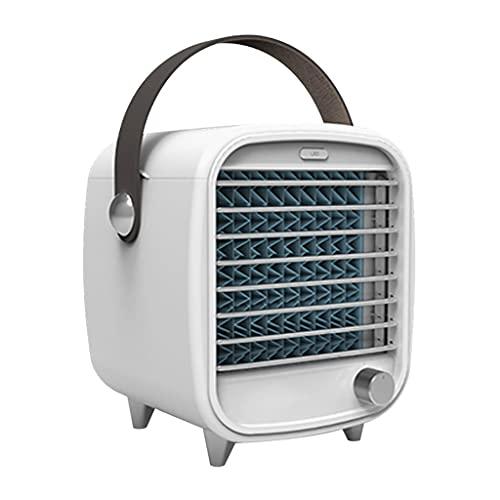Enfriador De Aire Acondicionado Pequeño Enfriador De Aire Portátil Refrigeración De Tres Capas Iluminación Ambiental LED Regulación De Velocidad Continua ( Color : Blanco , Size : 16.5*15.1*22cm )