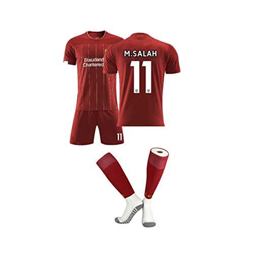 PAOFU Herren Jungen Liverpool FC 2019-20 Heim- und Auswärtsfan-Fußballtrikot-Set,Mohamed Salah/Sadio Mane/Roberto Firmino Fans Fußballtrikot Jersey,11#,S