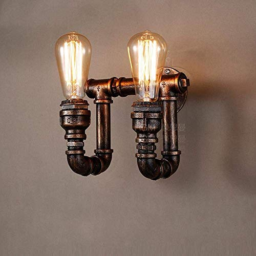 LPC Retro Wandleuchte 2 Flammen E27 Glühbirnen Vintage Industrie Wandleuchte Für Wohnzimmer Schlafzimmer Flur Küche Bar Laden Loft Eisen U-Form Wasserleitung Lampe Max.40 W wunderschönen