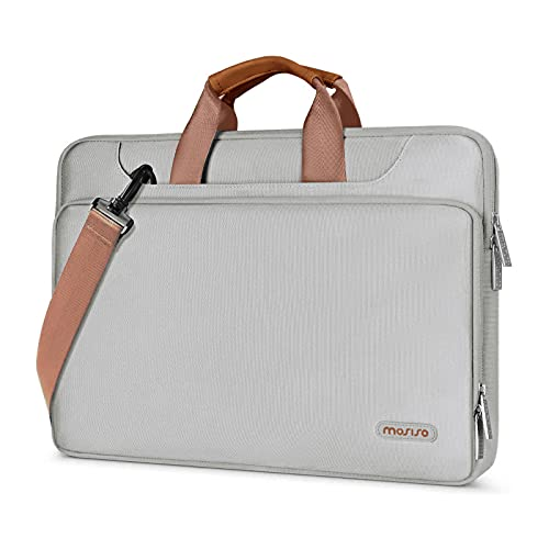 MOSISO 360 Protective Laptop Shoulder Bag Compatible with MacBook Pro/Air 13 inch, 13-13.3 inch Notebook Computer, Briefcase Sleeve with Back Trolley Belt, Gray