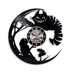Levescale - Cheshire The Cat Vinyl Wall Clock Wonderland - Perfect Cat Gift for Kids, Boy Or Girl - Decoration for Living Room, Playroom - Alice Disney Fairy Tim Burton Smile
