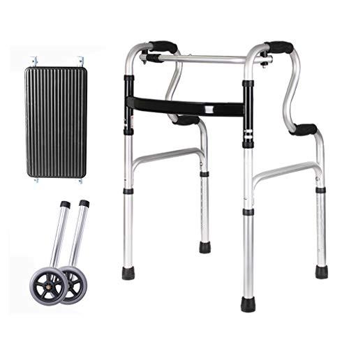 YXCKG Stander Andador, Andador Plegable Ligero, Andador De Viaje De Altura Ajustable, Andador para Ancianos para Movilidad En El Hogar Y Al Aire Libre (con Rueda) (Color : 2 Wheel) ✅