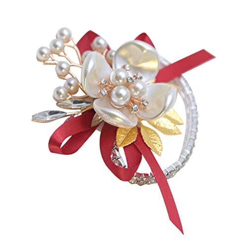 PRETYZOOM Ramillete de Muñeca Nupcial Flor de Muñeca de Seda Nupcial con Perla Pulsera Elástica Brazalete Pulsera Pan de Oro para Boda Prom Mano Flores Decoraciones Rojo
