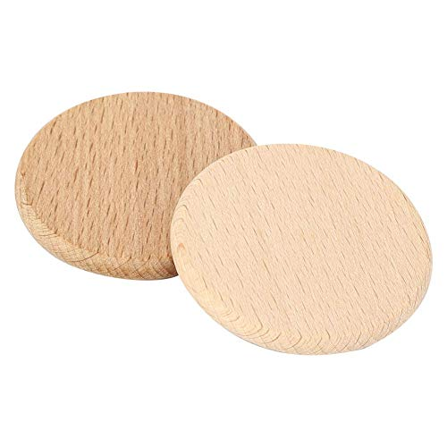 50 piezas redondo sin terminar recortes de madera círculos disco madera en blanco rebanadas chips de haya para artes manualidades proyectos juego de mesa piezas adornos(6.0cm)