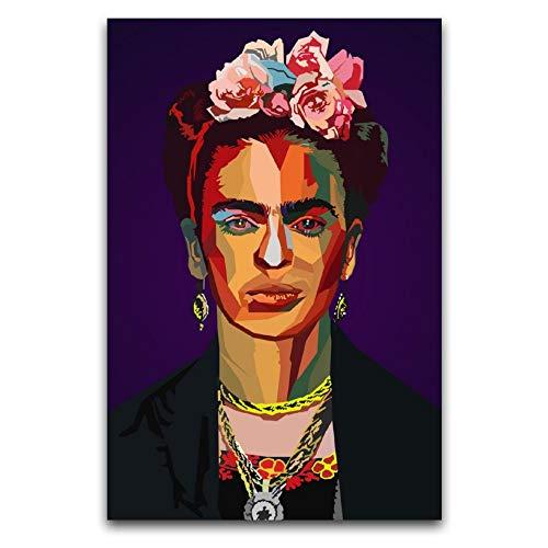 Póster de Frida Kahlo De Rivera (1) lienzo artístico y arte de pared impreso moderno para decoración de dormitorio familiar 50 x 75 cm