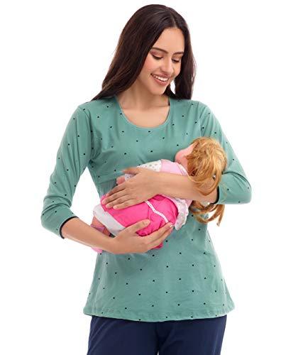 ZEYO Womens Cotton Nightwear Pastel Green Heart Print Feeding Maternity Top