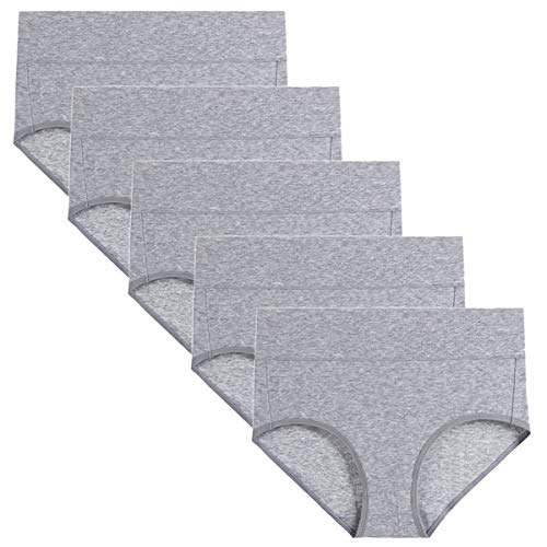wirarpa Damen Unterhosen Baumwolle Slips Damen Hoher Taille Atmungsaktive Taillenslip Wochenbett Unterwäsche Mehrpack Größen 32-58, Grau-5er Pack, X-Large (46/48)