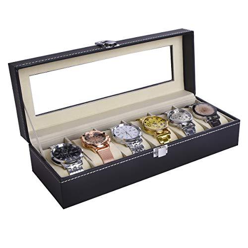 AUTOARK Uhrenbox für 6 Uhren,Uhren und Schmuck Aufbewahrung,Glasfenster,PU-Leder,Schwarz,DAWU-021