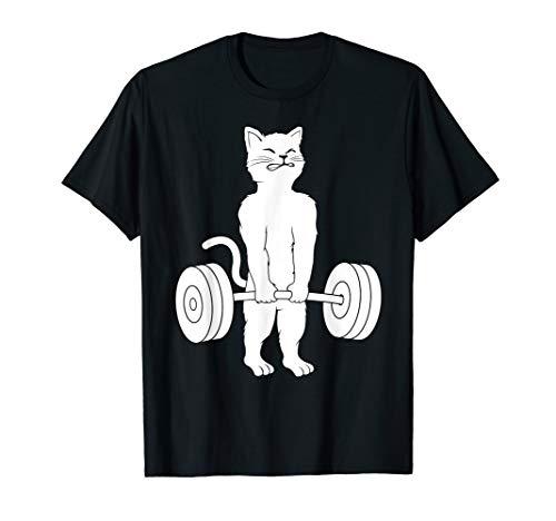 Cat Deadlift Shirt Powerlifting Kitty Tee, Weightlifting Cat T-Shirt