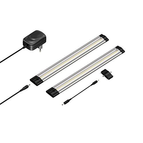 luce sottopensile a LED SIRIS, piatta, 30cm ciascuno, 330lm, bianco caldo, set di 2