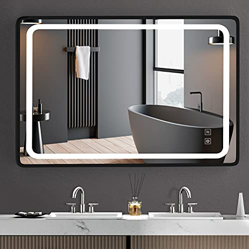 LED Bathroom Mirror with Arc Corner Aluminum Frame - SR SUN RISE 40x24 Inch Vanity Mirror - Dimmable Anti Fog Wall Light Mirror - Black Bathroom Makeup Mirror with Lighted for Wall