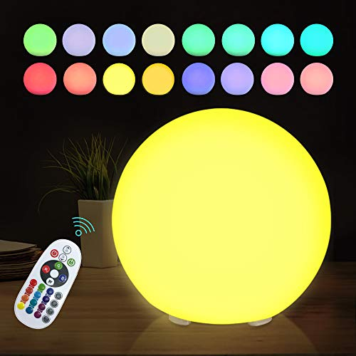 LED Orb RGB Ball Lamp with Remote, 6 Inch 16 Color Changing Glow Ball, IP68 Waterproof, Multi-Use for Ambience Decor Night Lights
