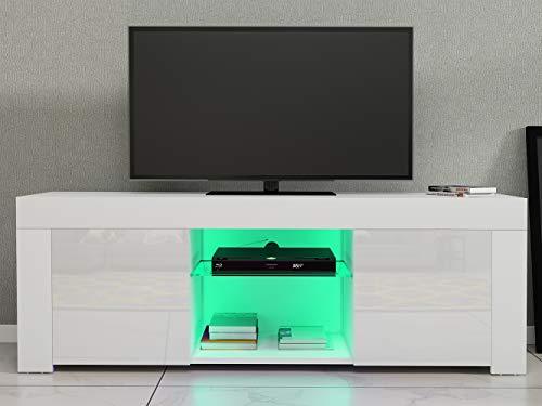 Moderno mueble de salón LED de 120 cm con LED y alto brillo para la puerta de TV (cuerpo blanco mate y frontal blanco de alto brillo)