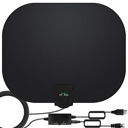 TV Antenna, Amplified HD Indoor Digital HDTV Antenna 200 Miles Range with Amplifier Signals Booster Support 4K 1080p HDTV and All Old Tv for Local Channels - with 17ft Coax Cable