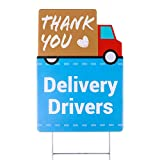 Package: Includes 12''x17'' thank you delivery drivers lawn sign and 6''x17'' metal wire H-Stake Material: Made of 4mm thick corrugated plastic with UV printed, weather resistant Feature: Single sided printed with Thank You Delivery Drivers and a tru...