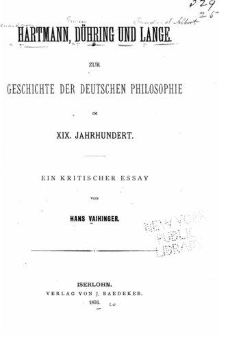 Hartman, Dühring und Lange Zur Geschichte der deutschen Philosophie im XIX. Jahrhundert