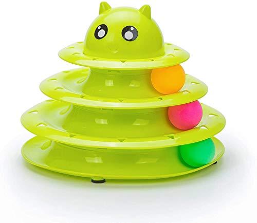 Juguete interactivo para mascotas con 3 niveles de torre de pistas para gatos, juguete (azul/verde/rosa)
