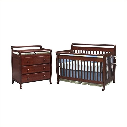 Hot Sale DaVinci Emily 4-in-1 Convertible Wood Baby Cherry Crib Set w/ Toddler Rail