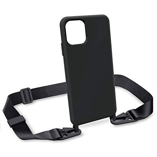 """ZhinkArts Handykette kompatibel mit Apple iPhone 11 Pro - 5,8\"""" Display - Smartphone Necklace Hülle mit Band - Handyhülle Silikon Case mit Kette zum umhängen in Schwarz Modular"""