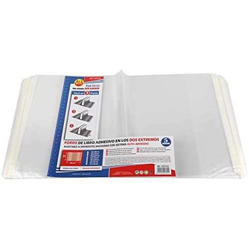 Forro de Libros Autoadhesivo, Ajustable y Transparente - Pack de 10 Forros 28,5x55 cm