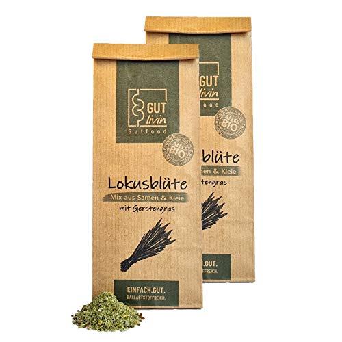 GUT livin Lokusblüte, BIO Mix aus Samen und Kleie, wertvolle Ballaststoffe für deine Verdauung, Superfood für Darm-Gesundheit, Geschenkidee, 2x400g Lokusblüte mit Gerstengras, ca. 60 Portionen