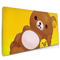 リラックマ ゲーミングマウスパッド マウスパッド デスクマット ゲーミング 90x40cm 大型 キーボードパッド 防水 滑り止め ゴムベースマウスパッド 仕事 ゲーム オフィス ホーム用