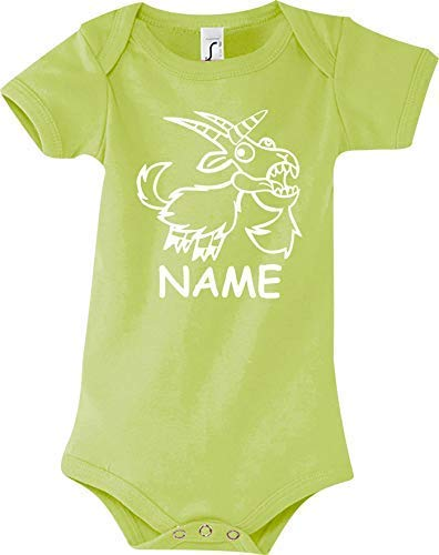 Shirtstown Body Bébé Drôle Animal Nom Souhaité Einhornziege,Licorne,Chèvre - Vert, 18-24 Monate