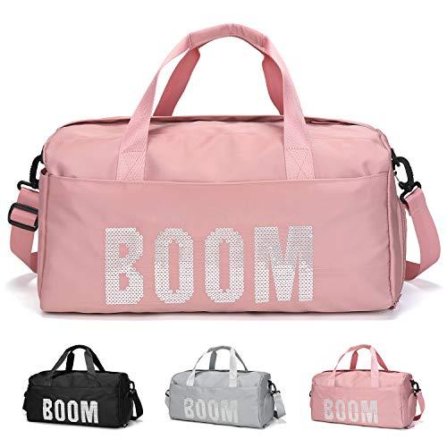FEDUAN originele BOOM sporttas met schoenenvak en natte compartiment reistas modieuze waterdichte dames heren yoga strand vrijetijdssauna tas sporttas boodschappentas weekender vakantie zwart grijs roze pink