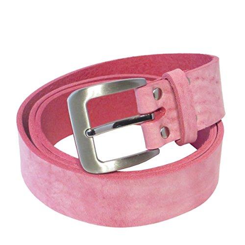 Ledergürtel pink 4 cm breit aus weichem Rindleder aus eigener Fertigung (90)