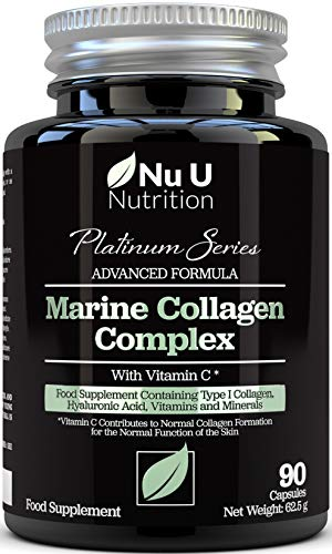 Marine Collagen Supplement - 90 Hydrolysed Collagen Capsules not Tablets - Type 1 Marine Collagen - 1350mg Per Serving - Enriched with Vitamin C, Vitamin E & Hyaluronic Acid - For Hair, Nails and Skin