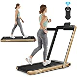 Goplus 2 in 1 Folding Treadmill with Dual Display, 2.25HP Under Desk Electric Pad Treadmill, Installation-Free, Bluetooth Speaker, Remote Control, Walking Jogging Machine for Home/Office Use (Yellow)