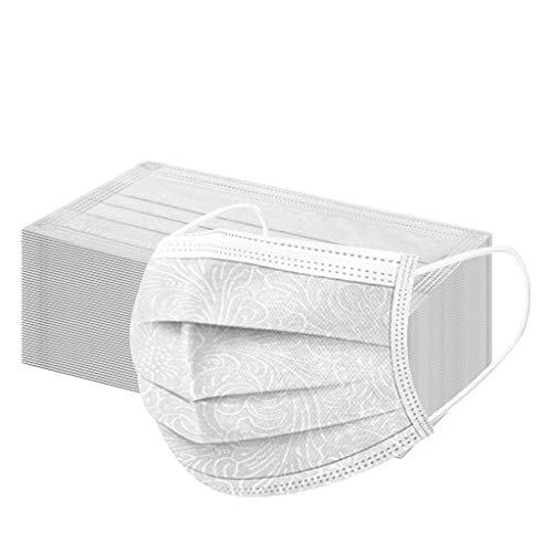 50 Stück Einweg_ Erwachsene Einmal-Mundschutz_ 3D-Prägung Mundbedeckung Mund und Nasenschutz_ Bedeckung Multifunktionstuch Halstuch Mund-Nasenschutz Für Damen und Heren