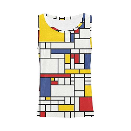 INTERESTPRINT Mondrian Painting Vest Tank Tops for Women Sleeveless Shirt Workout XXL