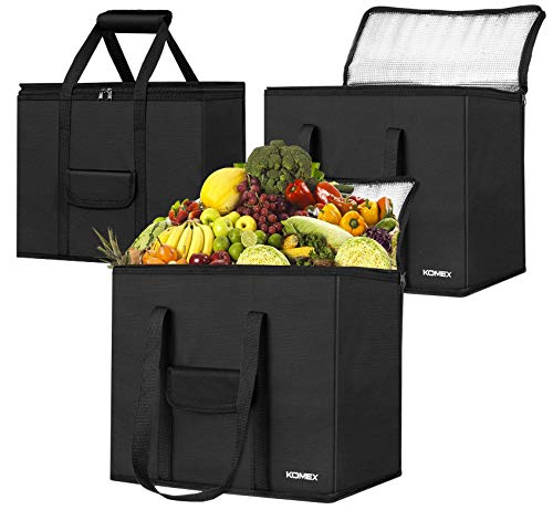 KOMEX Reusable Grocery Bags Foldable 3 Pack Shopping Bags With Sturdy Zippered And Strong Handle...