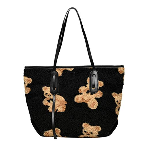 EWRT Bolso de mano – lindo oso impreso mujeres cordero como telas bolso de hombro bolso de la compra