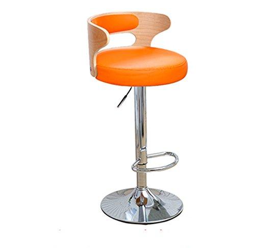 Ali@ Chaise élégante pivotante Chaise de bar chaise de bar Chaise de montée Tabouret de bar Chaise de dossier en bois massif Chaises de réception Tabouret haut (Couleur : Orange)