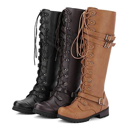 K-Youth Botas Altas Mujer Rodilla Tacon Botas de Vaquero Moda Botas de Agua Mujer Lluvia Altas Militares Zapatos Impermeables Cordones y Hebilla Goma Botas Mujer(Negro, 39 EU)