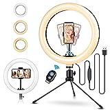 """*ELEGIANT Cèrcol de Llum Trípode Fotografia, 10.2"""" Anell de Luz *Selfie amb Control Remot 120 LED 3 Maneres 11 Nivells de Llum per a *TikTok *Youtube Instagram *Vlog Vídeo Maquillatge Ensenyament per a *iOS Android"""